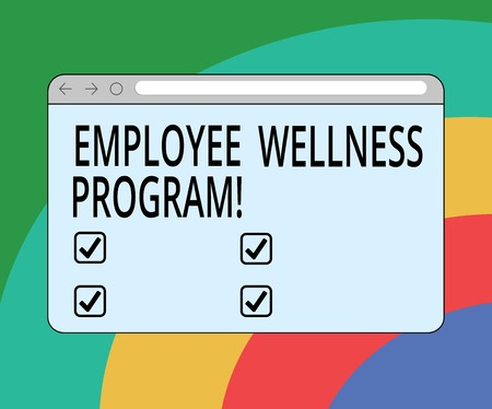 Conceptual hand writing showing Employee Wellness Program. Business photo text Help improve the health of its labor force Monitor Screen with Progress Control Bar Blank Text Space