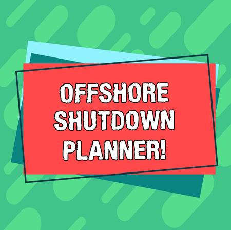 Word writing text Offshore Shutdown Planner. Business concept for Responsible for plant maintenance shutdown Pile of Blank Rectangular Outlined Different Color Construction Paper Banco de Imagens