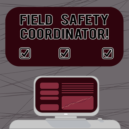 Word writing text Field Safety Coordinator. Business concept for Ensure compliance with health and safety standards Mounted Computer Screen with Line Graph on Desk Blank Color Text Box