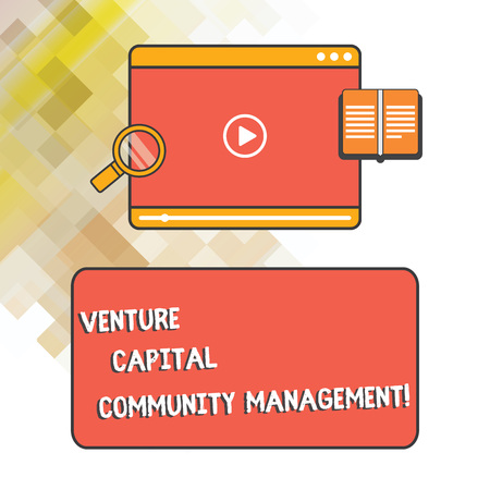 Word writing text Venture Capital Community Management. Business concept for Private equity capital analysisagement Tablet Video Player Uploading Downloading and Magnifying Glass Text Space 스톡 콘텐츠