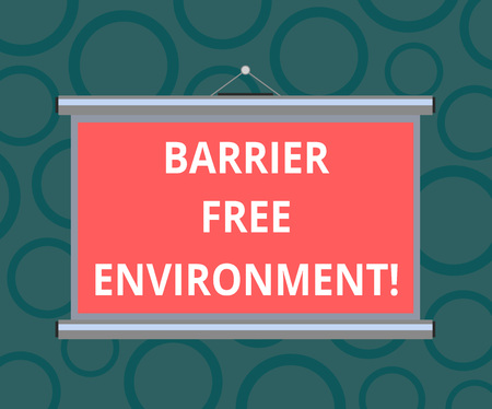 Writing note showing Barrier Free Environment. Business photo showcasing free of potential obstacles to individuals Portable Wall Projection Screen for Conference Presentation 写真素材