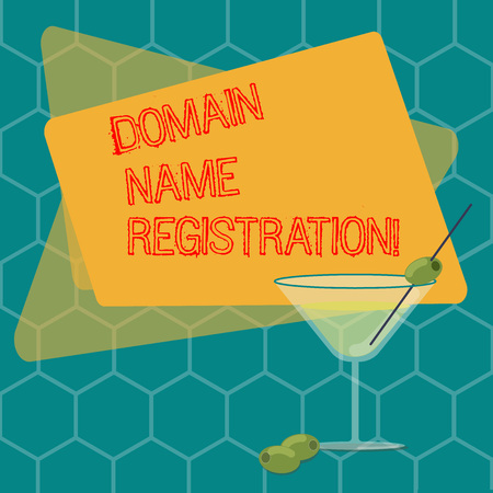 Word writing text Domain Name Registration. Business concept for process of reserving a name on the Internet Filled Cocktail Wine Glass with Olive on the Rim Blank Color Text Space