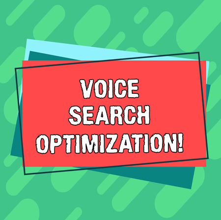 Word writing text Voice Search Optimization. Business concept for enhance web searching through spoken comanalysisds Pile of Blank Rectangular Outlined Different Color Construction Paper