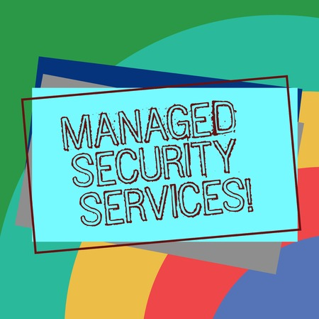 Text sign showing Managed Security Services. Conceptual photo approach in analysisaging clients security needs Pile of Blank Rectangular Outlined Different Color Construction Paper