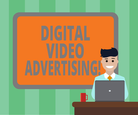 Handwriting text Digital Video Advertising. Concept meaning Engage audience in the form of video content Blank Bordered Board behind Man Sitting Smiling with Laptop Mug on Desk