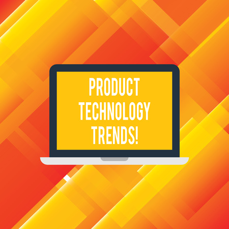 Handwriting text writing Product Technology Trends. Concept meaning Readily accepted in the market Becoming popular Laptop Monitor Personal Computer Device Tablet Blank Screen for Text Space