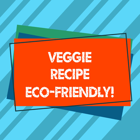 Writing note showing Veggie Recipe Eco Friendly. Business photo showcasing Living Green Vegan diet Using organic ingredients Pile of Blank Rectangular Outlined Different Color Construction Paper Banco de Imagens