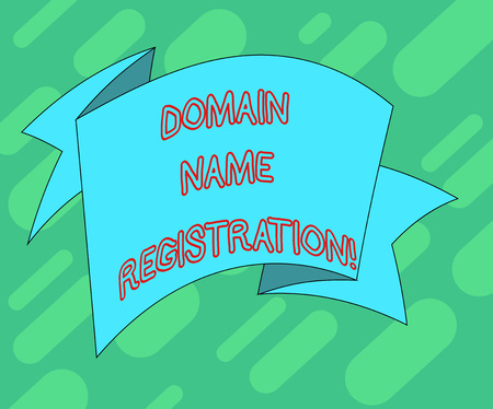 Conceptual hand writing showing Domain Name Registration. Business photo text process of reserving a name on the Internet Folded Ribbon Strip Solid Color Sash photo for Celebration Stock Photo
