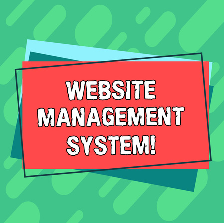 Word writing text Website Management System. Business concept for way to analysisage digital information on a website Pile of Blank Rectangular Outlined Different Color Construction Paper