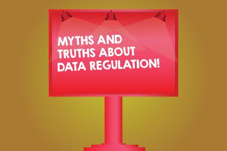 Word writing text Myths And Truths About Data Regulation. Business concept for Media information protection sayings Blank Lamp Lighted Color Signage Outdoor Ads photo Mounted on One Leg Фото со стока