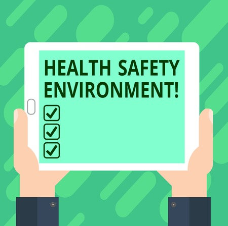 Conceptual hand writing showing Health Safety Environment. Business photo text Environmental protection and safety at work Hu analysis Hand Holding Tablet Smartphone Display Unit photo 写真素材
