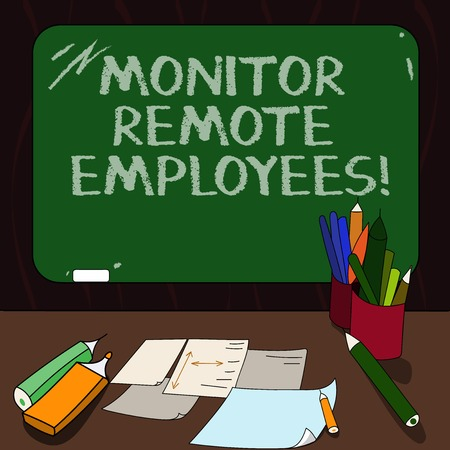 Word writing text Monitor Remote Employees. Business concept for Tracking the time spend by virtual employees Mounted Blank Color Blackboard with Chalk and Writing Tools Sheets on Desk 写真素材