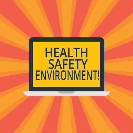 Text sign showing Health Safety Environment. Conceptual photo Environmental protection and safety at work Laptop Monitor Personal Computer Device Tablet Blank Screen for Text Space Archivio Fotografico - 115318317