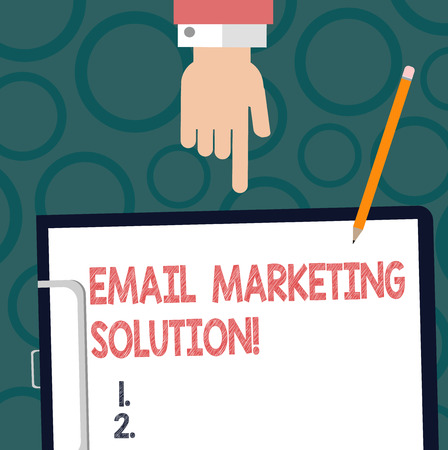 Text sign showing Email Marketing Solution. Conceptual photo helping customers to solve their problems Hu analysis Hand Pointing Down to Clipboard with Blank Bond Paper and Pencil