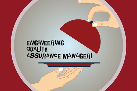 Conceptual hand writing showing Engineering Quality Assurance Manager. Business photo text Evaluation production control Hu analysis Hands Serving Tray Platter and Lifting the Lid