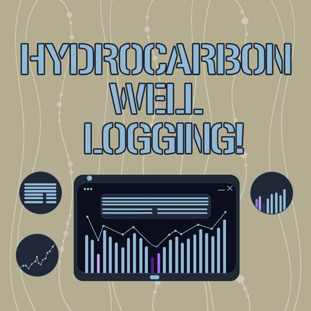 Handwriting text Hydrocarbon Well Logging. Concept meaning record of the geologic formations of a borehole Digital Combination of Column Line Data Graphic Chart on Tablet Screen Stock Photo