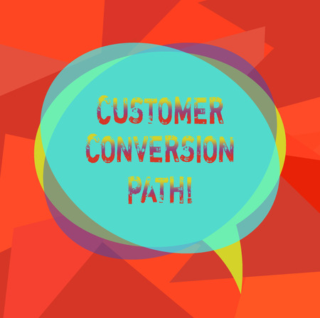 Text sign showing Customer Conversion Path. Conceptual photo steps that user went through over the website Blank Speech Bubble photo and Stack of Transparent Circle Overlapping Reklamní fotografie