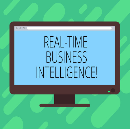 Conceptual hand writing showing Real Time Business Intelligence. Business photo text Information about business operations Blank Computer Monitor Color Screen Mounted with Progress Bar