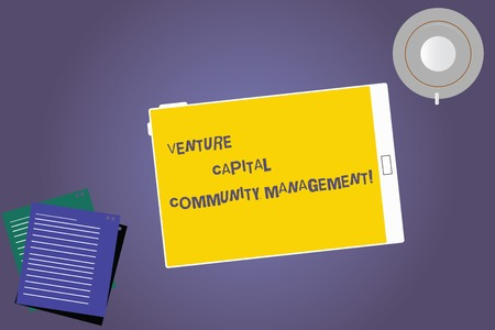 Text sign showing Venture Capital Community Management. Conceptual photo Private equity capital analysisagement Tablet Empty Screen Cup Saucer and Filler Sheets on Blank Color Background 写真素材