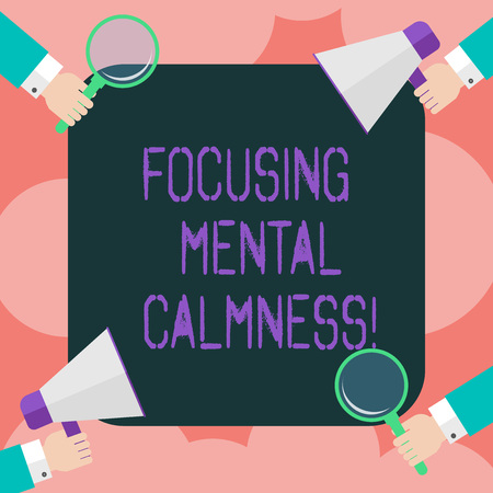 Writing note showing Focusing Mental Calmness. Business photo showcasing free the mind from agitation or any disturbance Hu analysis Hands Holding Magnifying Glass and Megaphone