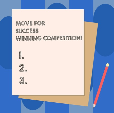 Conceptual hand writing showing Move For Success Winning Competition. Business photo showcasing Make the right moves to win the game Stack of Different Pastel Color Construct Bond Paper Pencil