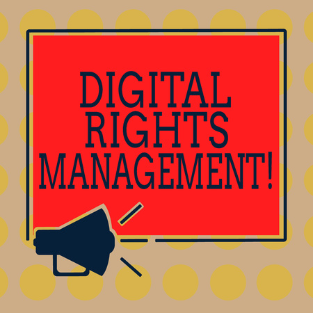 Word writing text Digital Rights Management. Business concept for approach to copyright protection for digital media Megaphone Sound icon Outlines Blank Square Loudspeaker Text Space photo 版權商用圖片