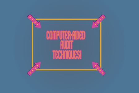Conceptual hand writing showing Computer Aided Audit Techniques. Business photo text Using computer to automate IT audit process Square Outline with Corner Arrows Pointing on Color Background