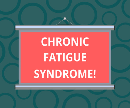 Writing note showing Chronic Fatigue Syndrome. Business photo showcasing debilitating disorder described by extreme fatigue Portable Wall Projection Screen for Conference Presentation 写真素材