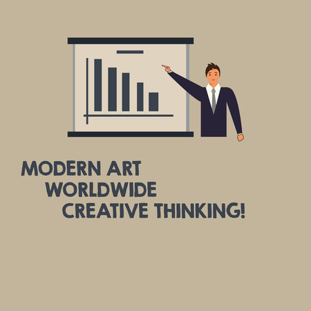 Writing note showing Modern Art Worldwide Creative Thinking. Business photo showcasing Creativity artistic expressions Man in Business Suit Pointing a Board Bar Chart Copy Space 写真素材
