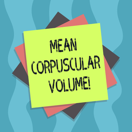 Conceptual hand writing showing Mean Corpuscular Volume. Business photo text average volume of a red blood corpuscle measurement Multiple Layer of Sheets Color Paper Cardboard with Shadow Stok Fotoğraf