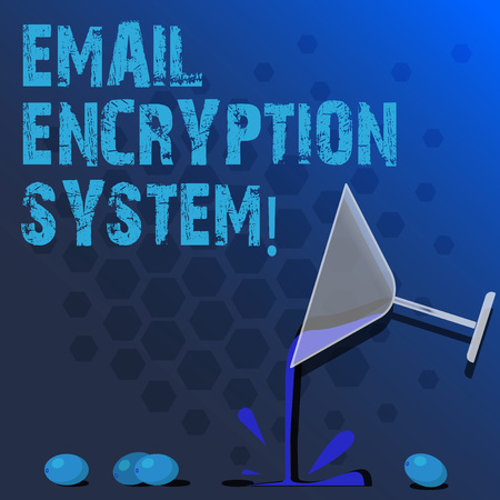 Word writing text Email Encryption System. Business concept for Authentication mechanism of an email message Cocktail Wine Glass Pouring Liquid with Splash Grapes and Shadow photo Stock Photo