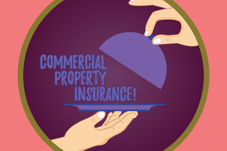 Conceptual hand writing showing Commercial Property Insurance. Business photo showcasing provides protection against most risks Hu analysis Hands Serving Tray Platter and Lifting the Lid