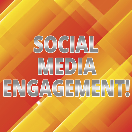 Word writing text Social Media Engagement. Business concept for Communicating in an online community platforms Slanting and Overlapping Color of Rectangular Geometric Shapes photo