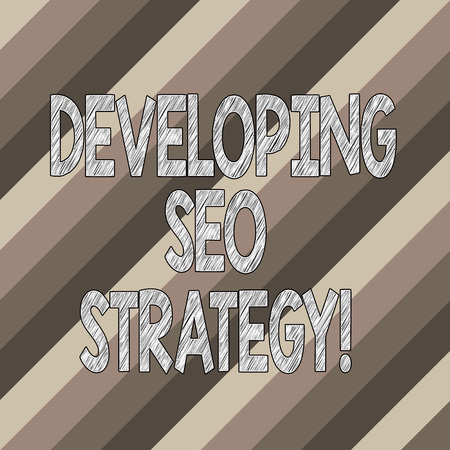 Conceptual hand writing showing Developing Seo Strategy. Business photo text process of tailoring your website at optimal rank Diagonal Lines Multi Tone Blank Copy Space for Poster Wallpaper
