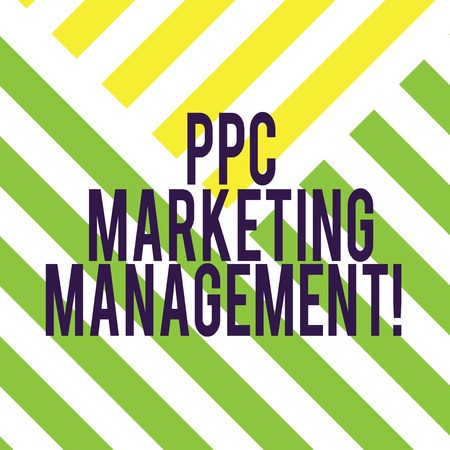 Writing note showing Ppc Marketing Management. Business photo showcasing Overseeing and analysisaging a company s is PPC ad spend Diagonal Twotone Lines photo Forming Triangular Shape Copy Space