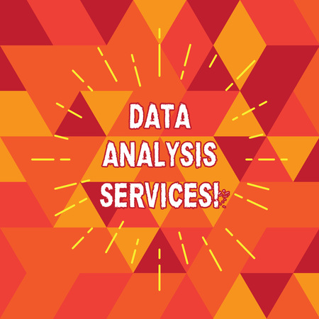 Conceptual hand writing showing Data Analysis Services. Business photo text an analytical data engine used in decision support Thin Beam Lines Spreading out Sunburst Radiates on Squares Banco de Imagens