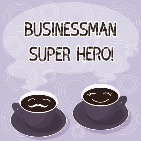 Text sign showing Businessanalysis Super Hero. Conceptual photo assumes the risk of a business or enterprise Sets of Cup Saucer for His and Hers Coffee Face icon with Blank Steam