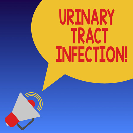 Handwriting text Urinary Tract Infection. Concept meaning an infection in any part of the urinary system Megaphone with Sound Volume Icon and Blank Color Speech Bubble photo Stock Photo