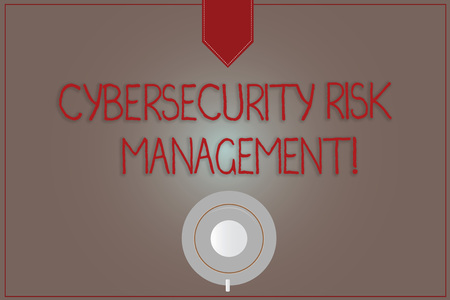 Writing note showing Cybersecurity Risk Management. Business photo showcasing Identifying threats and applying actions Coffee Cup Top View Reflection on Blank Color Snap Planner Stock Photo
