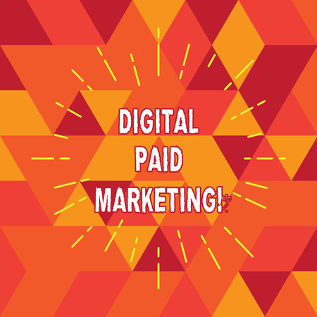 Conceptual hand writing showing Digital Paid Marketing. Business photo text marketing efforts that involve a paid placement Thin Beam Lines Spreading out Sunburst Radiates on Squares