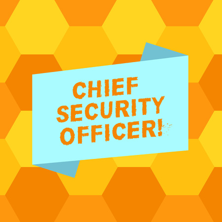Handwriting text writing Chief Security Officer. Concept meaning analysisages an organization s is security and systems Blank Color Folded Banner Strip Flat Style photo for Announcement Poster Stock Photo