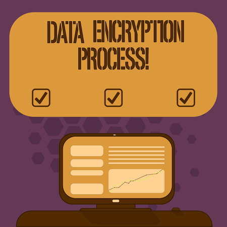 Handwriting text Data Encryption Process. Concept meaning The method of translating data into another form Mounted Computer Screen with Line Graph on Desk Blank Color Text Box