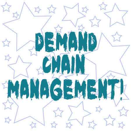 Text sign showing Deanalysisd Chain Management. Conceptual photo Relationships between suppliers and customers Outlines of Different Size Star Shape in Random Seamless Repeat Pattern