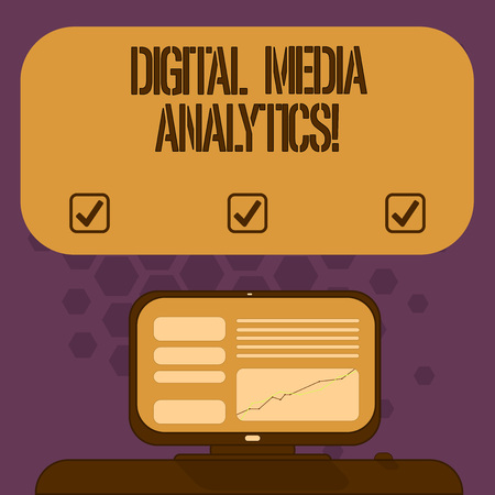 Handwriting text Digital Media Analytics. Concept meaning Analysis of information flowing from a business Mounted Computer Screen with Line Graph on Desk Blank Color Text Box