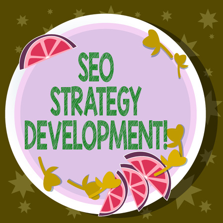 Word writing text Seo Strategy Development. Business concept for Process of organizing a website s is content Cutouts of Sliced Lime Wedge and Herb Leaves on Blank Round Color Plate
