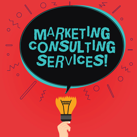 Writing note showing Marketing Consulting Services. Business photo showcasing create and implement marketing strategies Oval Speech Bubble Above a Broken Bulb with Failed Idea icon