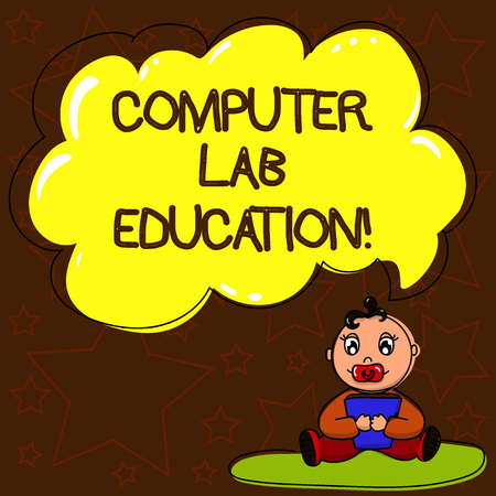 Writing note showing Computer Lab Education. Business photo showcasing Room or space equipped with computers use in a school Baby Sitting on Rug with Pacifier Book and Cloud Speech Bubble Stock Photo