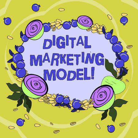 Handwriting text Digital Marketing Model. Concept meaning company s is plan for how it will generate revenues Floral Wreath made of Tiny Seeds Small Glossy Pomegranate and Cut Beet