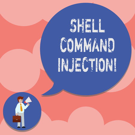 Writing note showing Shell Comanalysisd Injection. Business photo showcasing used by hackers to execute system comanalysisds on server Man in Necktie Carrying Briefcase and Megaphone Speech Bubble