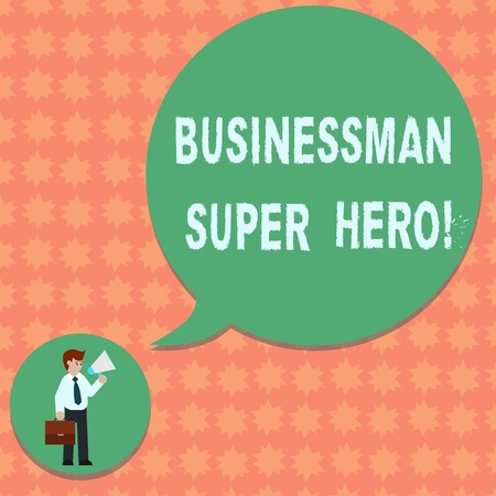 Writing note showing Businessanalysis Super Hero. Business photo showcasing assumes the risk of a business or enterprise Man in Necktie Carrying Briefcase Holding Megaphone Speech Bubble